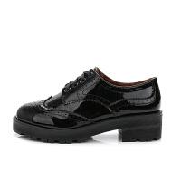 中跟小皮鞋女牛津鞋粗跟加绒英伦风女鞋松糕鞋学院风布洛克女单鞋