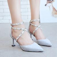 户外浅口尖头细跟超高跟鞋时尚小清新女款鞋百搭单鞋子