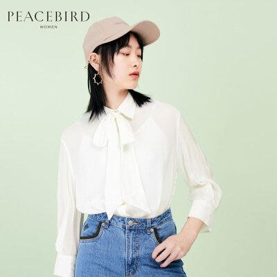 白色衬衫女宽松2019夏季新款长袖单排多扣直筒宽松上衣太平鸟女装 白色长袖单排多扣上衣