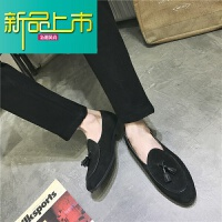 新品上市18秋季新款青年男士豆豆鞋一脚蹬英伦韩版小皮鞋型师潮鞋套脚