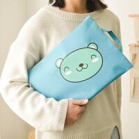 小熊A4文件袋 学生女士可爱帆布试卷收纳袋带提手