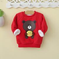 宝宝加绒卫衣红色加厚冬季男女童装冬装婴幼儿服装潮0一1-2-4岁3