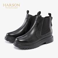 哈森2019冬季新款牛皮革软面方根低跟短筒女靴HA99105