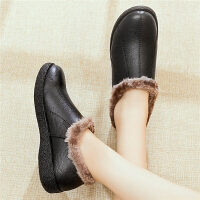 2019冬季奶奶棉鞋短靴中老年女鞋加绒保暖妈妈鞋滑棉鞋
