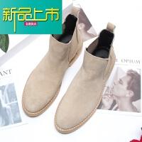 新品上市英伦男士靴子尖头套筒短靴男潮百搭青年高帮休闲皮鞋冬季靴
