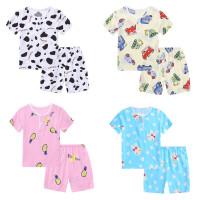 儿童棉绸睡衣夏季男童女童薄款短袖短裤套装宝宝绵绸亲子家居服