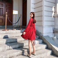 卡贝琳女2019新款法国复古裙山本红色裙子学生韩版女超仙长袖雪纺连衣裙秋