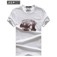 JEEP吉普短袖T恤男2018男装夏季薄款透气纯棉半袖t恤男式圆领休闲打底衫