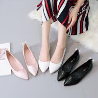尖头平底鞋女单鞋2018新款韩版百搭伴娘鞋黑色浅口工作鞋平跟瓢鞋