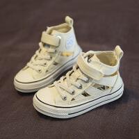 儿童帆布鞋女白色球鞋镂空透气夏秋款单鞋高帮跑步板鞋小童鞋