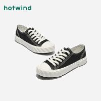 热风春季新款小清新女士系带休闲鞋黑色青年帆布鞋H14W0117