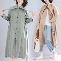 大码女装春装适合胖女人穿的风衣洋气宽松时髦中长款外套新款