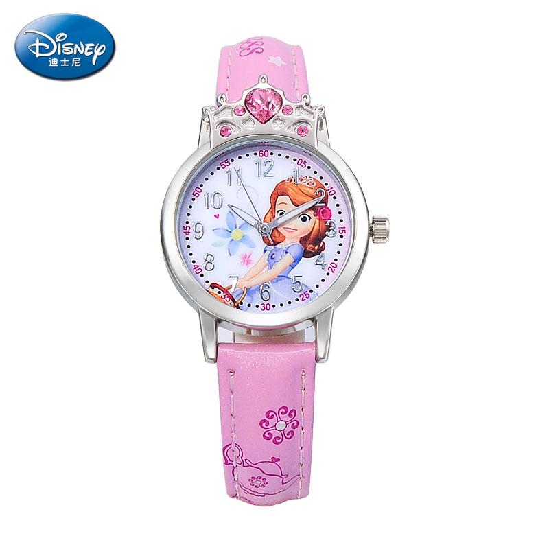 迪士尼冰雪奇缘儿童手表女孩皮带防水石英卡通手表女童小学生手表 升级版 精致大颗水钻 公主皇冠