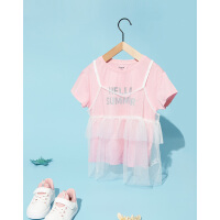 巴拉巴拉儿童T恤短袖女童打底衫夏装2019新款中大童童装两件套女