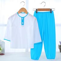 夏季儿童绵绸睡衣居家服男女童棉绸套装女孩宝宝竹纤维薄款空调服