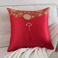 缎面抱枕明清古典沙发靠垫中式结婚喜庆床头靠枕复古大腰靠 中国结-大红