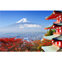 成人1000片木质拼图1500唯美风景日本风光樱花富士山