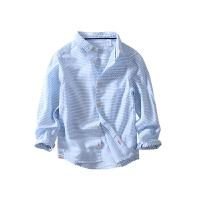 男童衬衫长袖春秋上衣儿童衬衣男中大童春季棉麻条纹童装