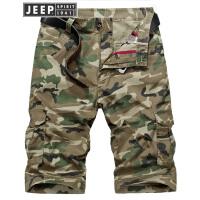 JEEP吉普短裤男宽松大码纯棉迷彩短裤2018夏季青年男士休闲七分裤多口袋工装裤