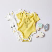 【2件3折 到手价:43】CHULFVEAN初纺 新生儿婴儿连体衣夏季薄款 纯棉哈衣包屁衣2件