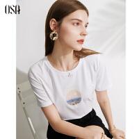 【2件1.5折价:79元】OSA欧莎夏天2021年新款印花白色T恤女设计感小众薄款短袖体恤气质上衣
