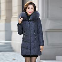 妈妈冬装棉衣中长款羽绒2018新款40岁50中老年女冬季棉袄外套