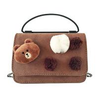 可爱小熊链条小方包包女韩版潮时尚磨砂单肩斜挎包包