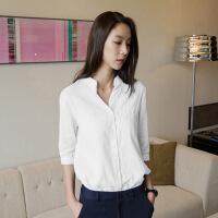秋季新款韩版棉麻衬衣夏7分衬衫女七分袖立领宽松亚麻上衣服 白色 高端定制