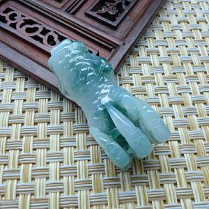 缅甸天然翡翠收藏 精雕鸡爪吊坠 胜券在握 配证书HBB-DOH-CBF