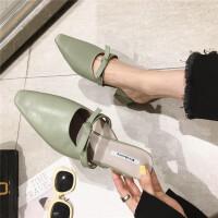 拖鞋女2019春季新款女鞋包头一字带蝴蝶结韩国精致小粗跟穆勒拖鞋