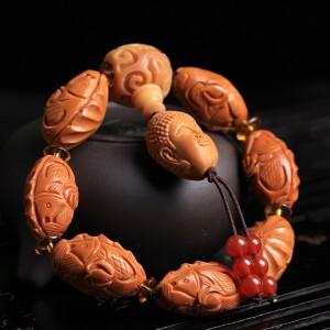 油性橄榄核橄榄胡精品雕刻双鱼佛珠手串年年有余岁岁平安拍卖