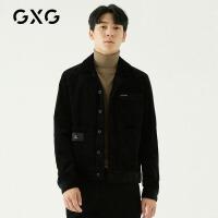 GXG男装 春季男士黑色韩版潮流修身棒球服灯芯绒夹克工装外套男士