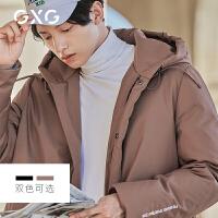 【新款】GXG男�b 2020秋季加厚���q中�L款�B帽羽�q服潮GA111248G