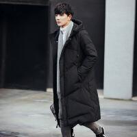 冬季中长款过膝棉衣男加肥加大码胖子加厚棉袄外套潮男装 Y001黑色