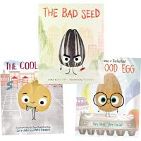 英文原版The Bad Seed/Good Egg/Cool Bean 3册 品格教育必备 趣味故事图画书 3-9岁习惯养成 英语启蒙 Jory John 坏种子 优良蛋 酷豆子