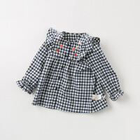 davebella戴维贝拉2019秋季新款女童衬衣 宝宝格子衬衫DBM11527