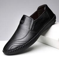 宜驰 EGCHI 商务休闲皮鞋子男士头层牛皮套脚一脚蹬透气防滑 K1172