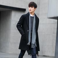 风衣男中长款修身韩版秋季毛呢大衣春秋潮流呢子外套