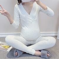 棉毛裤加绒保暖内衣孕妇秋衣秋裤套装月子服产后哺乳孕妇睡衣睡裤