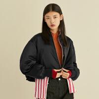 黑色棉服女韩版春装2019新款宽松短款拉链长袖夹克外套太平鸟女装
