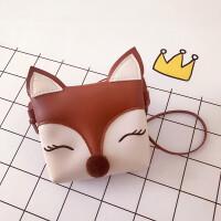 韩版儿童包包可爱公主时尚斜挎包卡通女童小包宝宝零钱包 深棕色 狐狸