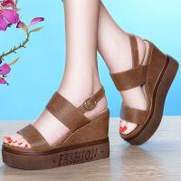 凉鞋女夏季新款露趾坡跟鞋女高跟凉鞋一字带松糕厚底鞋子女学生英伦水台女鞋子潮