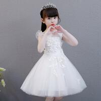 女童公主裙蓬蓬纱儿童主持人晚礼服白色小花童婚纱裙钢琴演出服夏