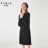 森马黑色显瘦针织连衣裙女冬季新款简约纯色过膝打底毛衣裙潮