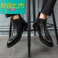 新品上市18新款皮鞋男韩版中帮潮流英伦内增高短靴子男士马丁靴高帮百搭