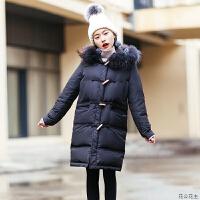 2018冬季新款韩版小个子中长款大毛领黑色羽绒服女加厚外套 黑色 现货