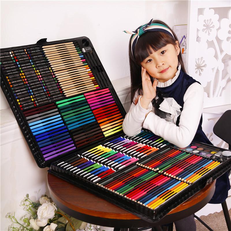 儿童水彩笔套装幼儿园小学生蜡笔绘画工具美术用品礼物画画笔 258件黑色套装送画本和礼品袋