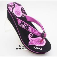 越南鞋新款平仙鞋坡跟高跟女人字拖鞋夹指休闲拖鞋滑