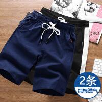 2条装夏天短裤男士薄款宽松大码5分裤男纯棉运动裤潮4XL大裤衩中裤