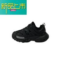 新品上市汪 运动鞋男女情侣春夏季19新款韩国复古老爹跑步鞋增高 黑色